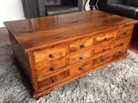 Wooden 12 drawer Coffee Table Trunk Chest With storage