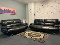 Harvey's black leather sofas 3&2 delivery 🚚 sofa suite couch furniture