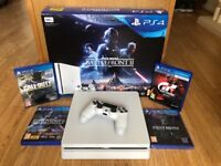 PS4 Slimline, White, 1x controller, 4 games! VR headset also for sale. Contact for details