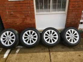 """Audi A6 C7 GENUINE ALLOY WHEELS 17"""" WITH 2 NEW TYRES"""