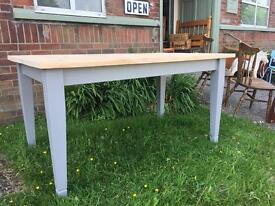Refurbished solid pine table seats 6