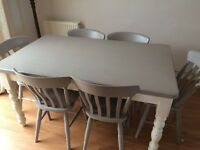 Painted solid wood dining table and 6 chairs