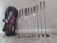 Left handed Wilson profile driver,3 wood,4 hybrid,7 irons (5 iron-sand wedge) and putter and bag.
