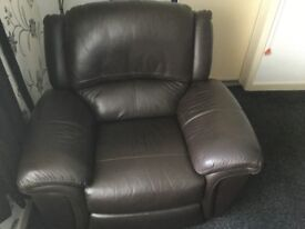 Brown leather 3 seater settee and chair, both reclining
