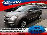 2012 CHEVROLET EQUINOX AWD LT AUTO AIR 4 CYL ECO BLUETOOTH