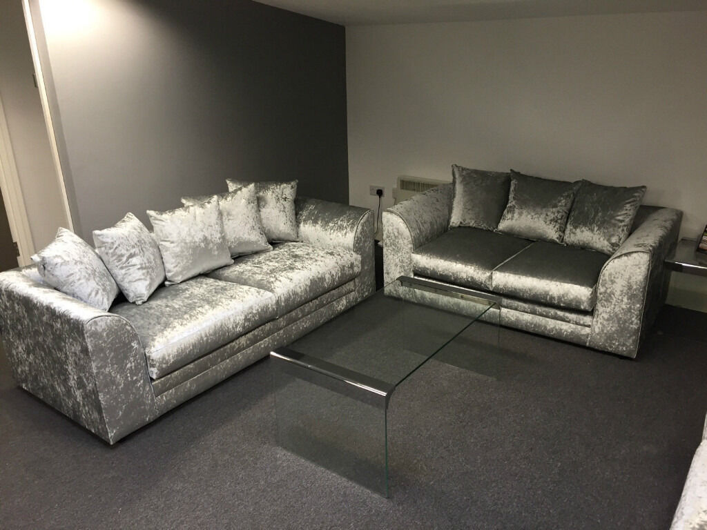 Express Delivery Dylan 3 2 Crushed Velvet Sofa