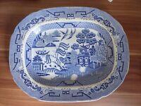 "Antique large 16"" willow pattern meat platter c1850"