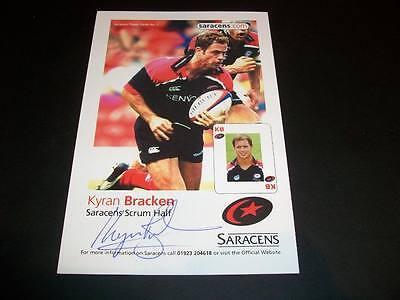 Saracens Kyran Bracken England Rugby Autograph Signed 4X6 Player Card C
