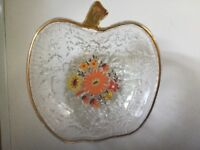 Retro apple shaped dessert glass dishes &spoons x6 new £7