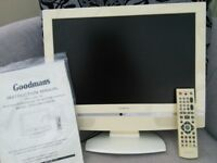 LCD TV (cream) 19 inch widescreen, Goodmans, with remote and instructions