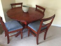 Pine extendable dining table & 4 chairs