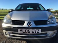 05 Renault Clio. 12 months MOT , 5 door. Petrol. Reliable car and has never let me down!
