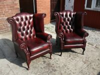2 LEATHER CHESTERFIELD QUEEN ANNE WING BACK CHAIRS STUNNING ANTIQUE OXBLOOD RED LEATHER CAN DELIVER
