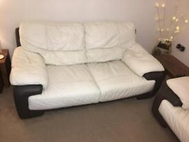 White/Brown Leather 2 & 3 Seater Couches
