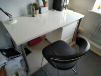 White Gloss Home Office Desk Drawers & Chair Work From Home