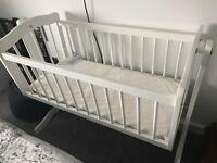 White swinging baby crib £15