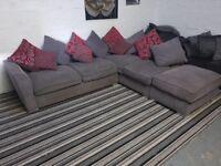 Large Grey Corner Sofa with Foot Stool Like New ex display