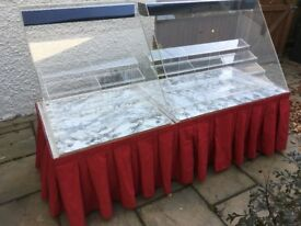 Mobile double display unit for festivals/markets etc. Suitable for cakes, pies or other items