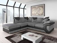 New Fabric Corner Sofa In Grey & Black With a Footstool Leather Touch