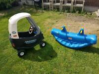 Little tikes police car and see saw