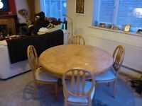 Extending Circular Dining Table and 6 Chairs