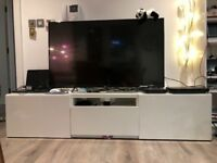 High gloss white Ikea TV stand, 178cm*41cm*40cm, very well maintained, only used half year.