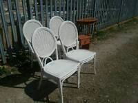 Set of 4 Good Quality Painted Wicker Chairs