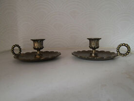 PAIR OF OLD BRASS CANDLESTICKS