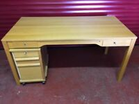 Ikea Wooden Desk with Storage Console