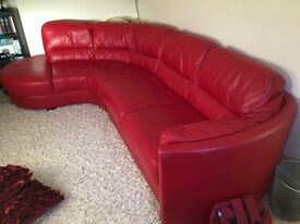 Red Leather corner Sofa, Like new hardly sat on