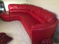 Red Leather corner Sofa, Like new hardly sat on