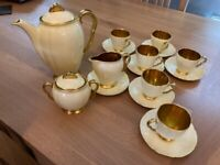 Vintage Carlton Ware Cream and gold coffee set