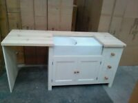 Solid Pine Belfast Sink Base Unit + Appliance Housing includes painting to the colour of your choice