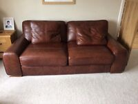 Quality leather 3,2,1 brown sofa, excellent condition, barely used, £1k for a quick sale