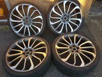 "Set of 24"" Diamond Cut Alloy Wheels and Tyres for Land Rover, Range Rover, VW +"