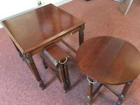 3 folding, mahogany, nesting tables