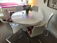 Large Round White Gloss Dining Table Glass lazy susan LED lighting in multi Colours + 6 chairs