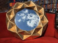 Unusual Large Gold Mirror - Very Chunky Block Mirror - NEW - Eye-Catching - Reduced