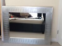 Large ikea mirror with brushed steel surround