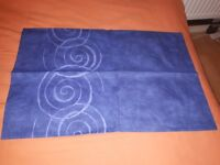 2 x blue/abstract single quilt covers & curtains