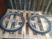 Bike wheels and chair