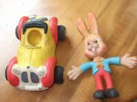 Vintage Toy Noddy Bendy Car and vintage Bugs Bunny