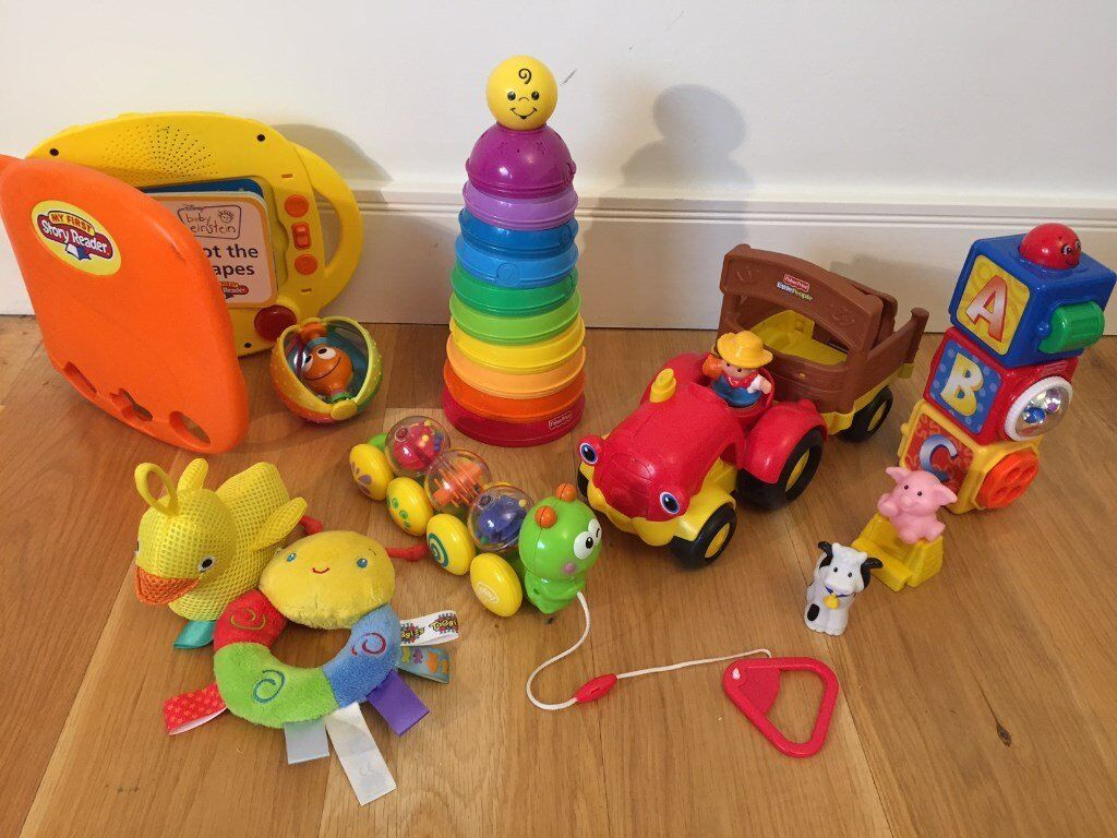 Baby Toys Bundle Including Baby Einstein, Fisher Price plus more not picturedin Tower Bridge, LondonGumtree - Baby toy bundle including Baby Einstein My First Story Reader, Fisher Price, stacking toys, plus more not pictured. In good played with condition. Pick up from Bermondsey