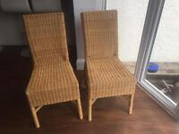 2 x wicker dining room chairs
