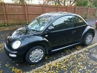 Black vw beetle 2002. Classic 3 DOOR HATCHBACK. 1.6 PETROL car and central locking. £900 wanted!