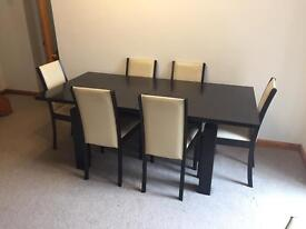 skovby extending dining table, chairs and side board