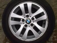 "BMW E46 E87 E90 E91 3 Series 5 double spoke alloy wheel with tyre 16"" 6765810"