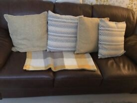FREE 3 seater brown leather sofa - collect by 21/03/18
