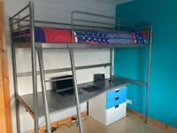 IKEA Svarta loft bed frame, desk and drawer