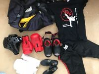 Red and black kickboxing kit for teenage girl or size XS/S woman (helmet, clothes, gloves, shoes ++)